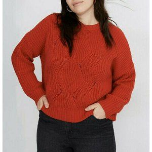 """Madewell Red Thick """"Everette Cable Knit"""" Sweater"""